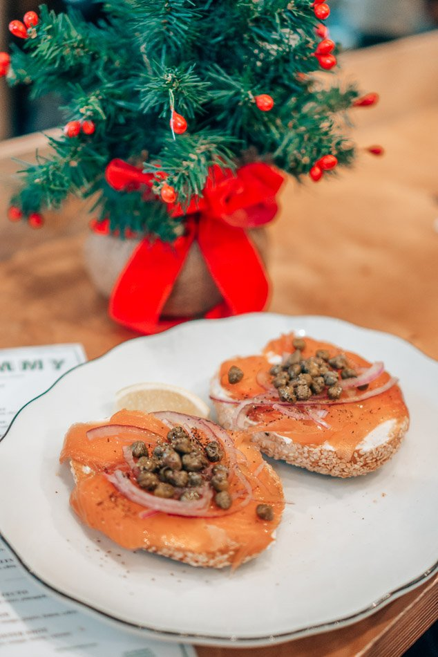 Montreal bagel with lox during Christmastime in Montreal.
