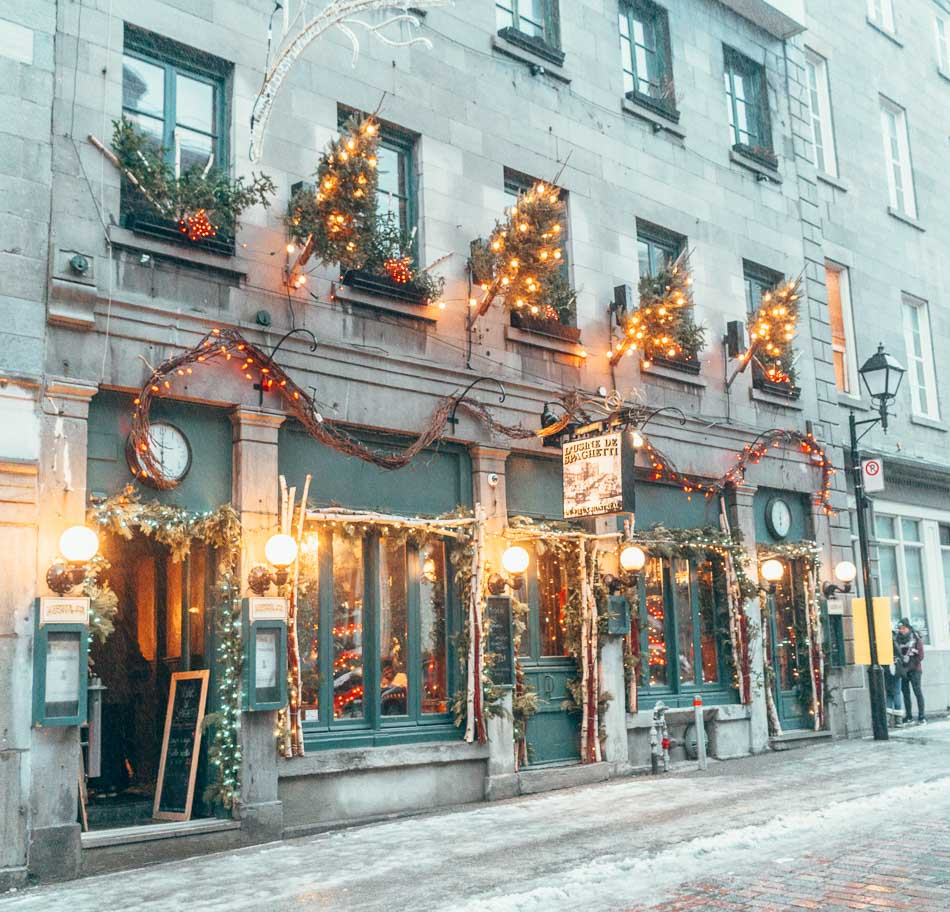 Winter in Old Town Montreal is all decorated for Christmas!