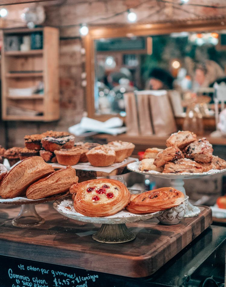 Pastry case in Montreal, Canada on a cozy winter day.