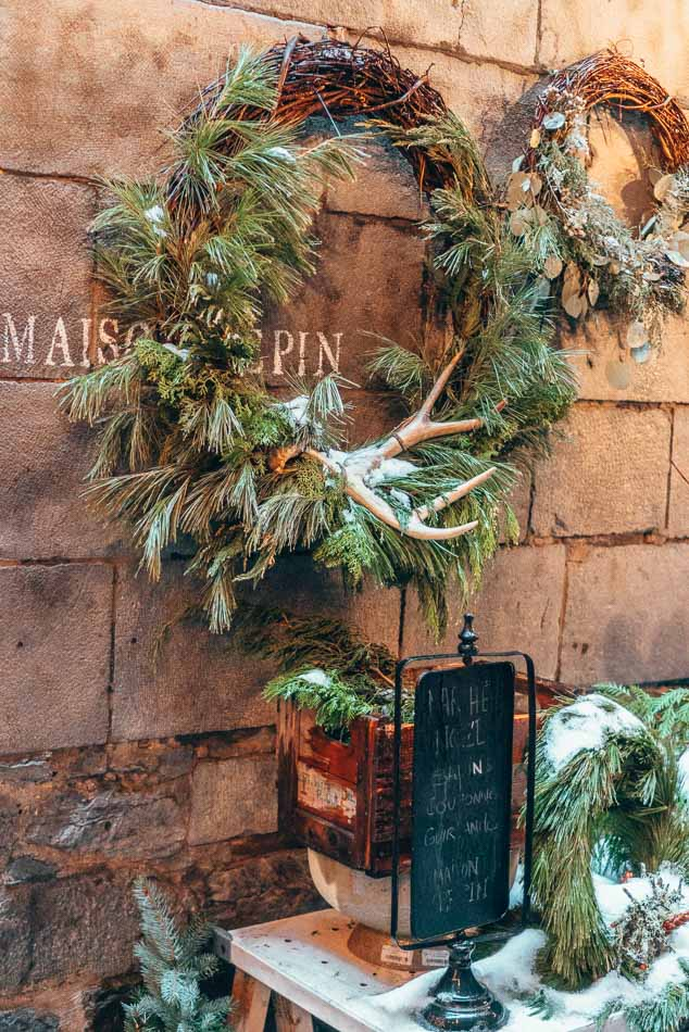 Christmas wreath decorated with an antler in Montreal, Canada in the winter