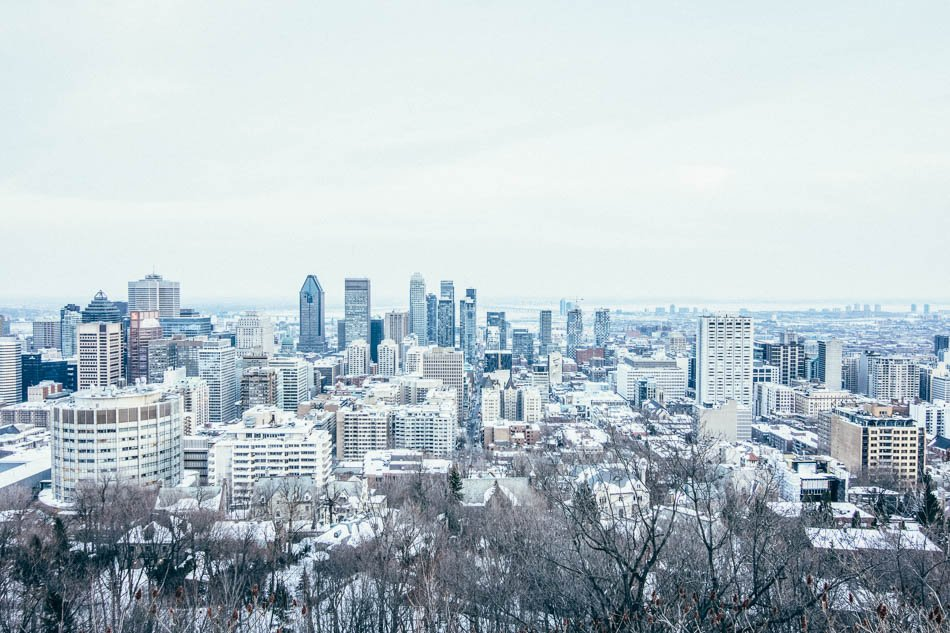 View of the snowy skyline in Montreal, QC.