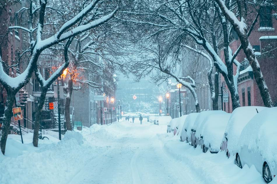 A snowy street in Montreal in the winter.