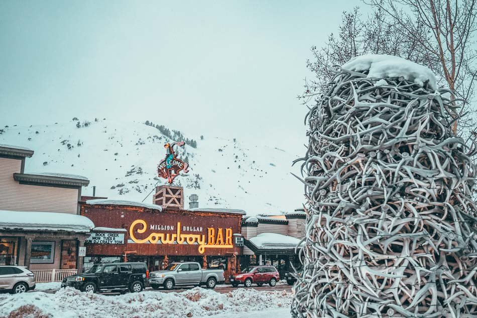 """The Million Dollar Cowboy Bar in """"downtown"""" Jackson Hole, Wyoming - right across from the famous elk antler arch!"""