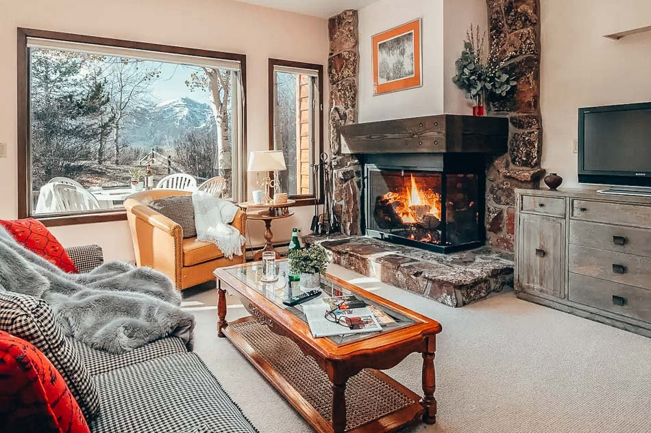 Cozy fireplace in an AirBnB in Jackson Hole, Wyoming.