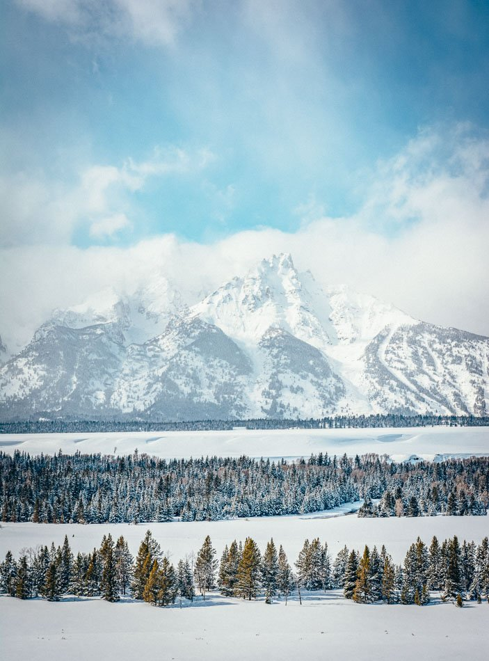 The snowy peaks of Grand Teton in Jackson Hole, WY.