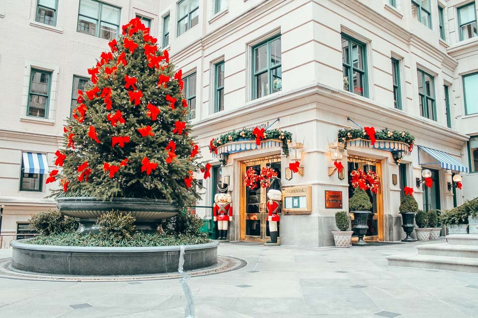 Christmas Decorations at the Willard Hotel in downtown Washington DC in winter