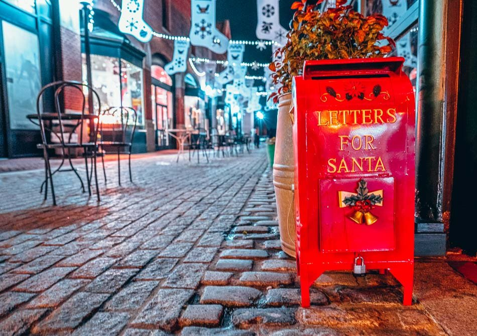Cobblestone Street and letters for Santa Box Christmas in Washington DC in the Georgetown neighborhood.