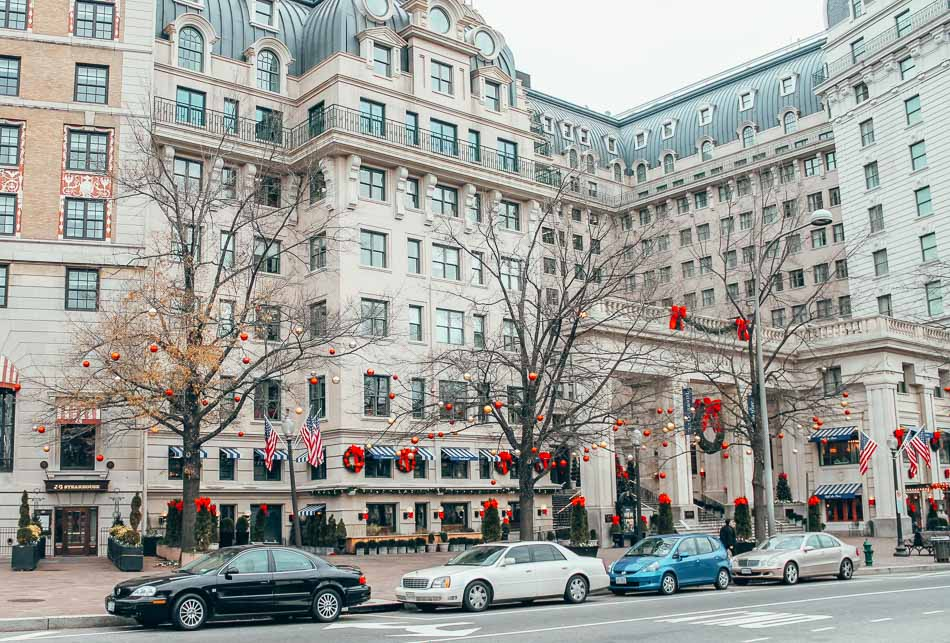 Downtown Washington DC in the Winter with Christmas Decorations