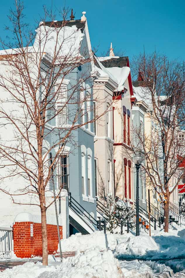 Georgetown homes during the snowy winter in Washington DC.