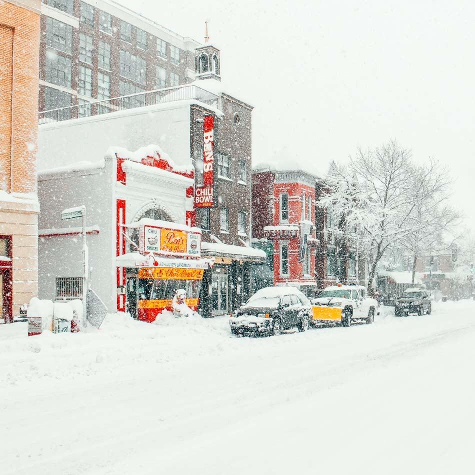 U Street and Ben's Chili Bowl in the snow in Washington Dc in the U Street Neighborhood