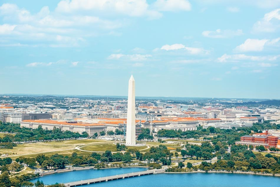 Washington DC skyline and aerial view.