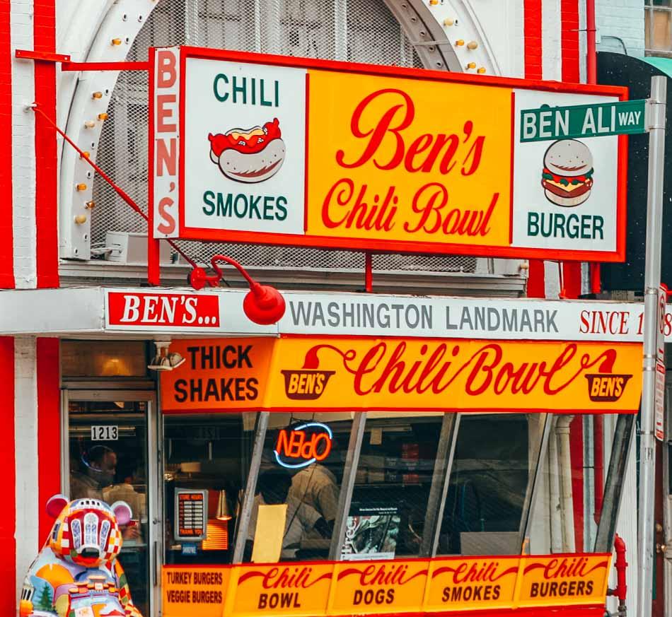 Facade of Ben's Chili Bowl in Washington DC