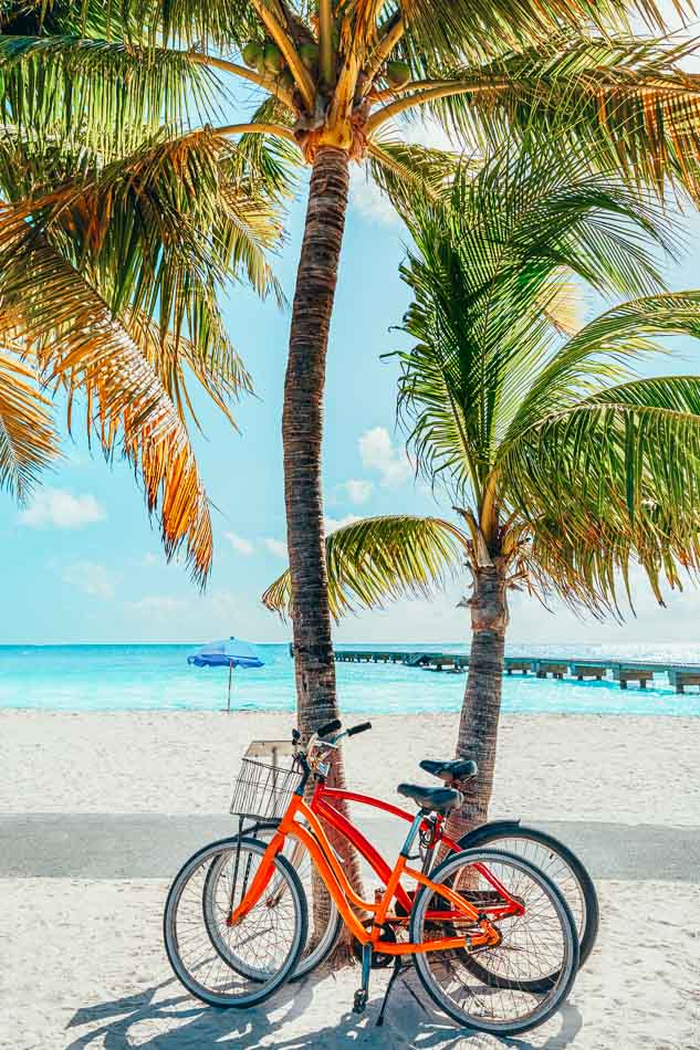 Bikes on the beach in Key West, Florida