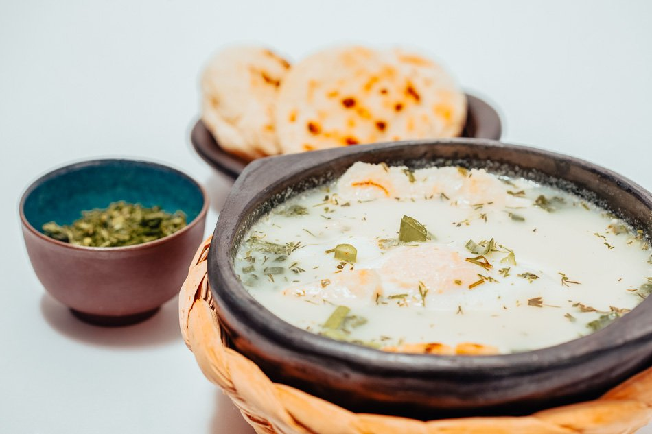 Traditional Colombian Poached Egg Soup called Changua.
