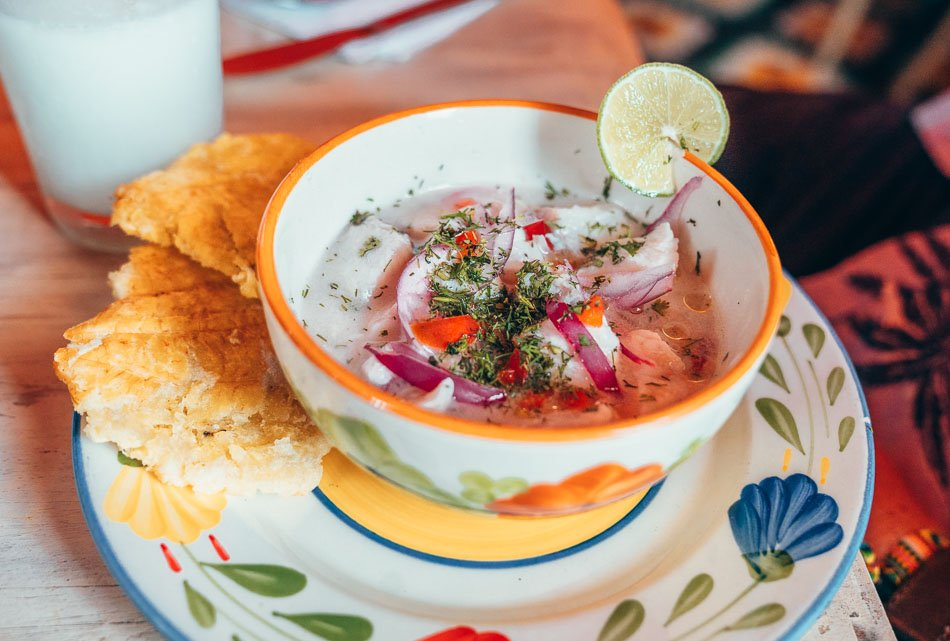 Fresh Colombian ceviche served with Patacones in Cartagena, Colombia