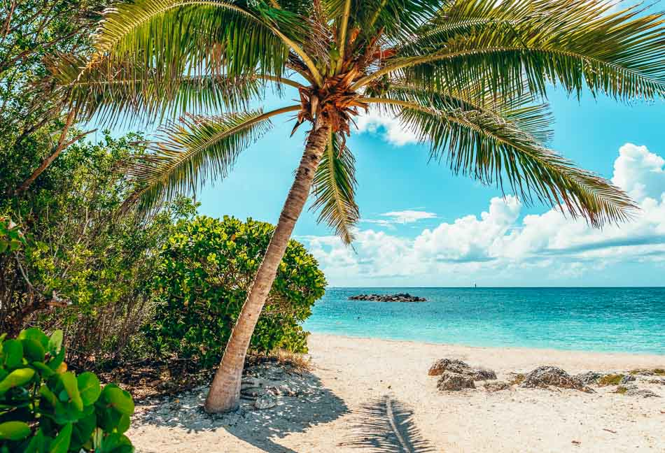 Paradise beach at Fort Zachary Taylor Park, Key West. State Park in Florida, USA.