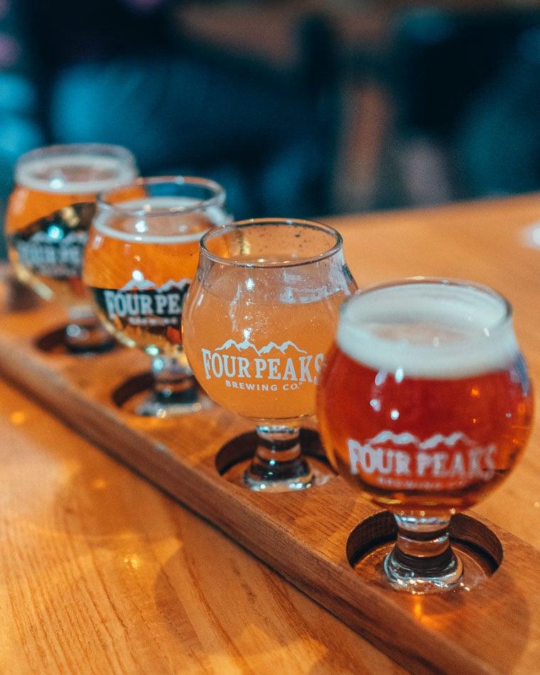 Beer flight at Four Peaks Brewery in Tempe, Arizona