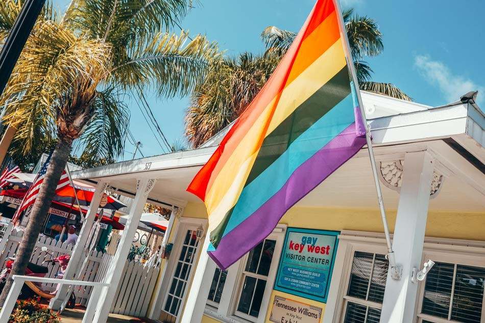 The entrance of the Gay Key West Visitor Center in Florida.