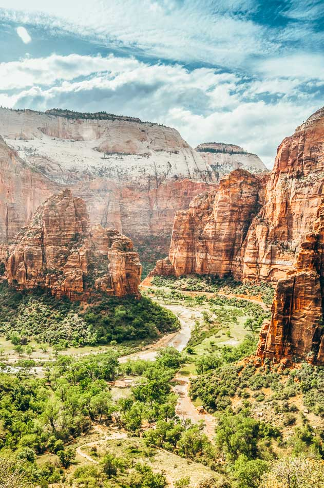 View of Zion Canyon from the Hidden Canyon Trail in Zion National Park, one of Utah's Mighty Five