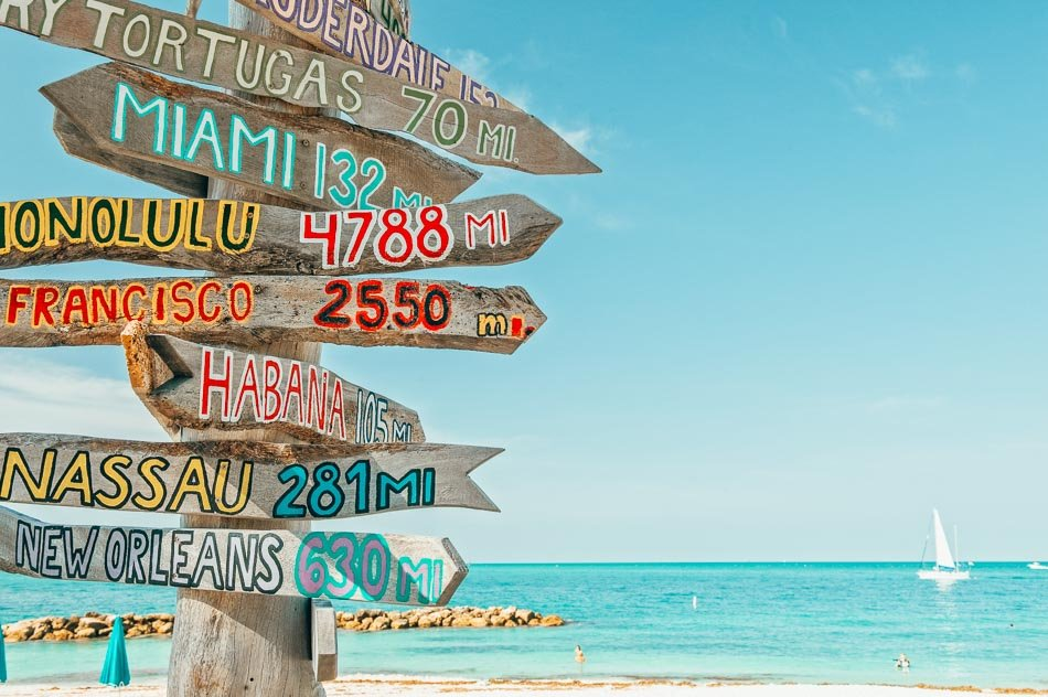 Mileage signpost on the beach in Key West, Florida