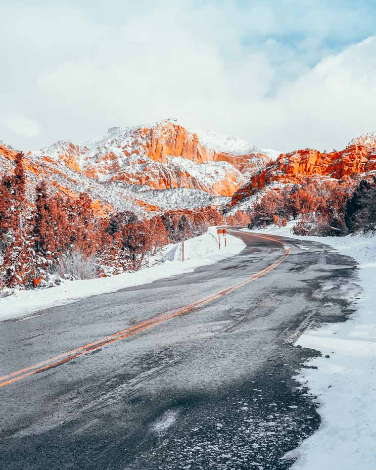 Scenic drive through Zion National Park in the winter.