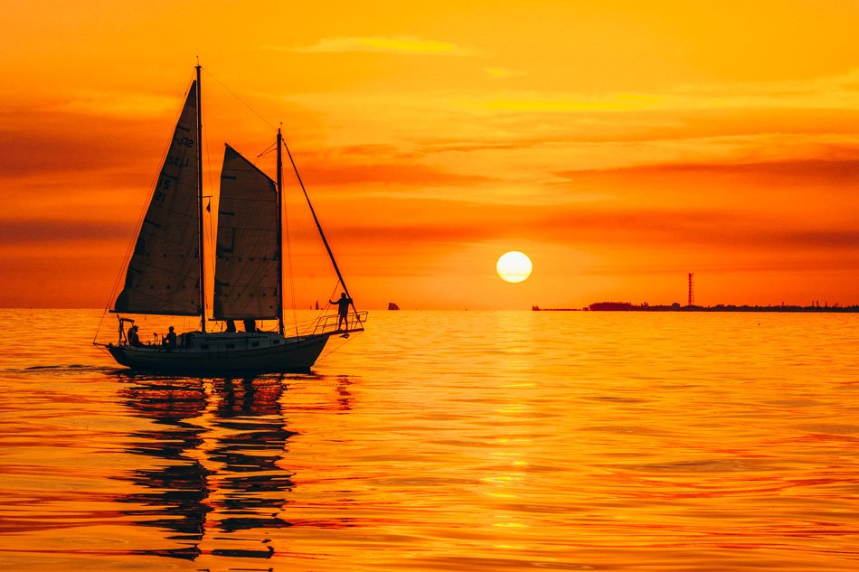 The beautiful sunset at the beach in Key West, Florida.