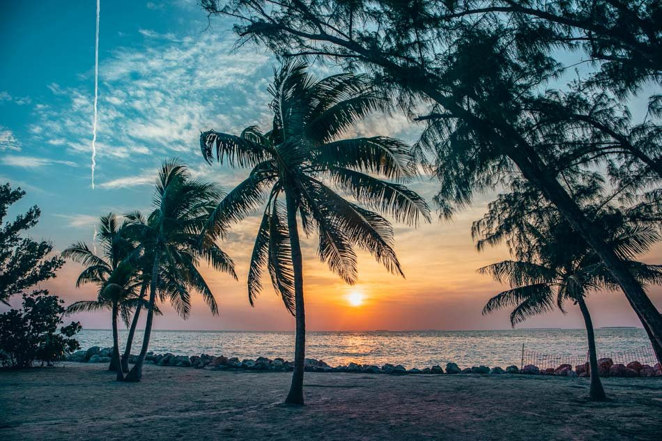Sunset on the beach in Fort Zachary Taylor Historic State Park, Key West, Florida