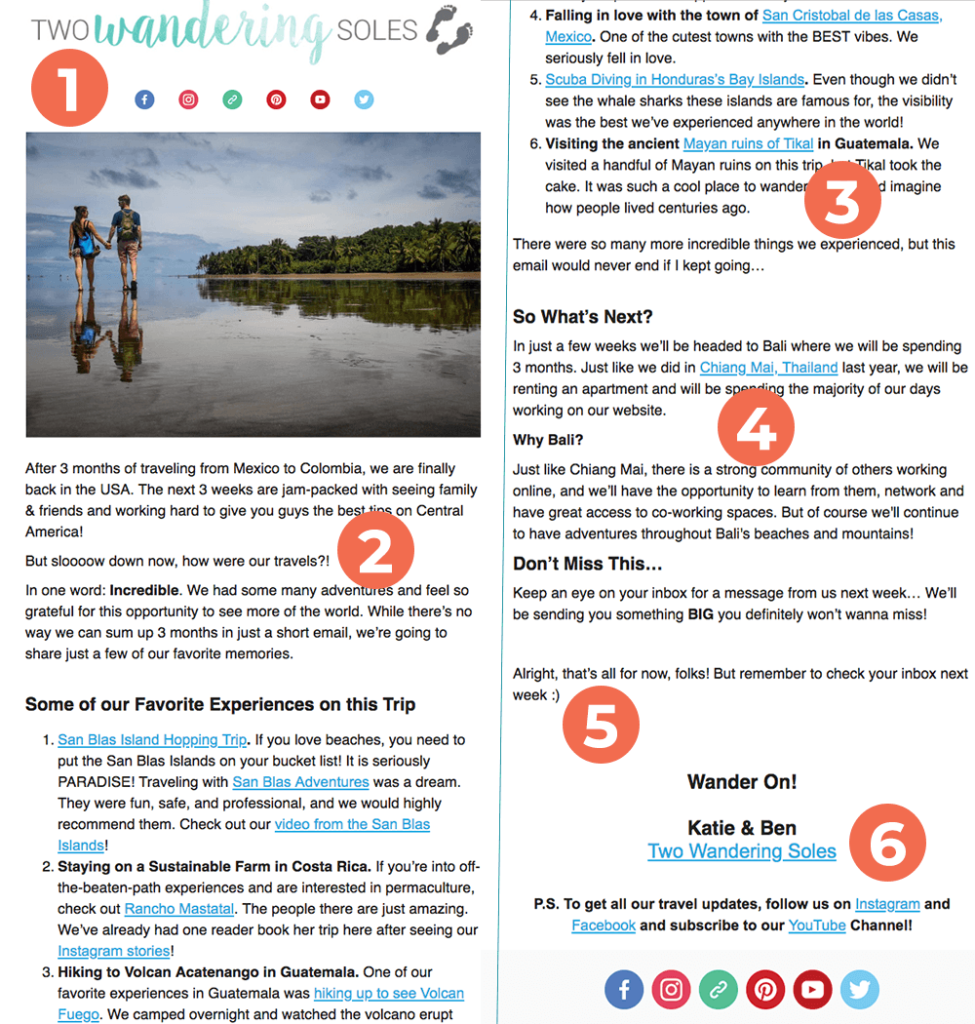An example of a travel blogger newsletter that I find really effective, from Katie & Ben at Two Wandering Soles.