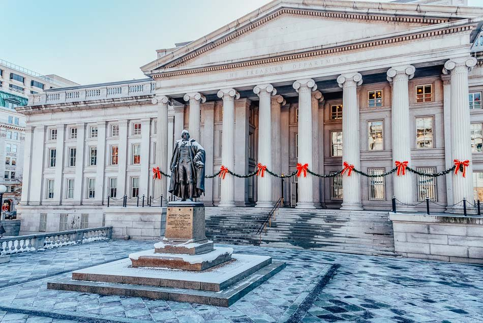 Outside of the US Treasury in Washington DC during the holidays.