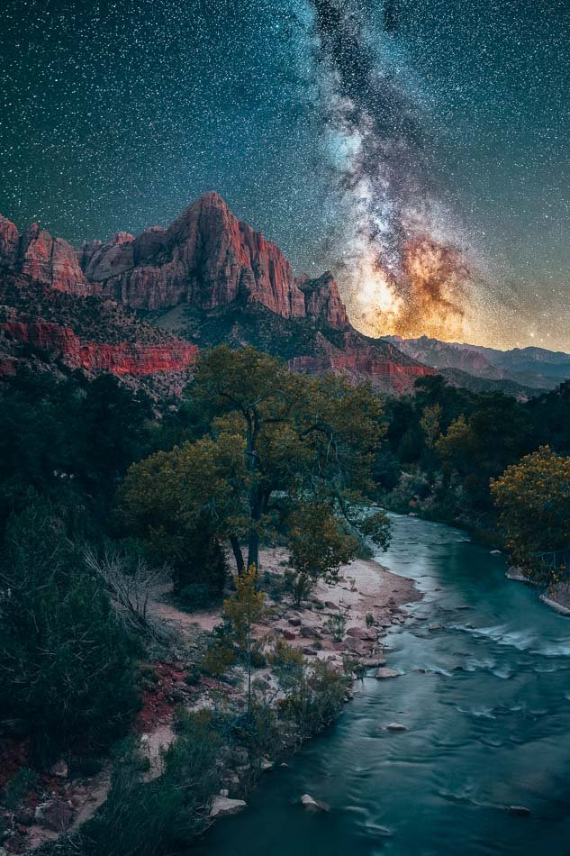 Nighttime view of the beautiful, bright & starry Milky Way in Zion National Park, Utah.