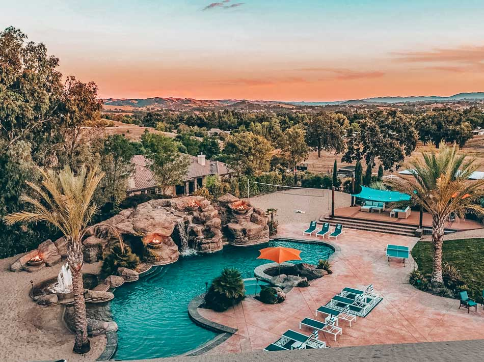 Bird's eye view of the Mermaid Mansion at sunset, one of the best Paso Robles Airbnbs to book for groups!