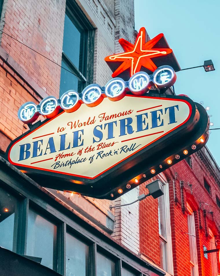 """""""Welcome to Beale Street"""" Sign at twilight in Memphis, Tennessee."""