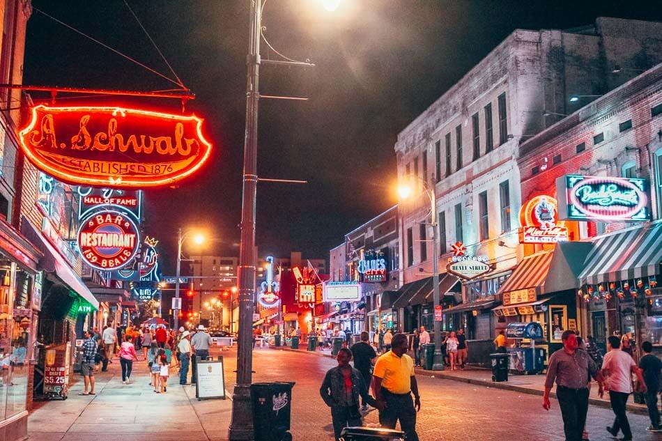 Nightlife on Beale Street in Memphis, Tennessee.