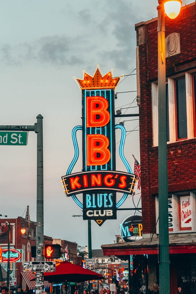 BB King's Blues Club Sign on Beale Street at twilight in Memphis, Tennessee.