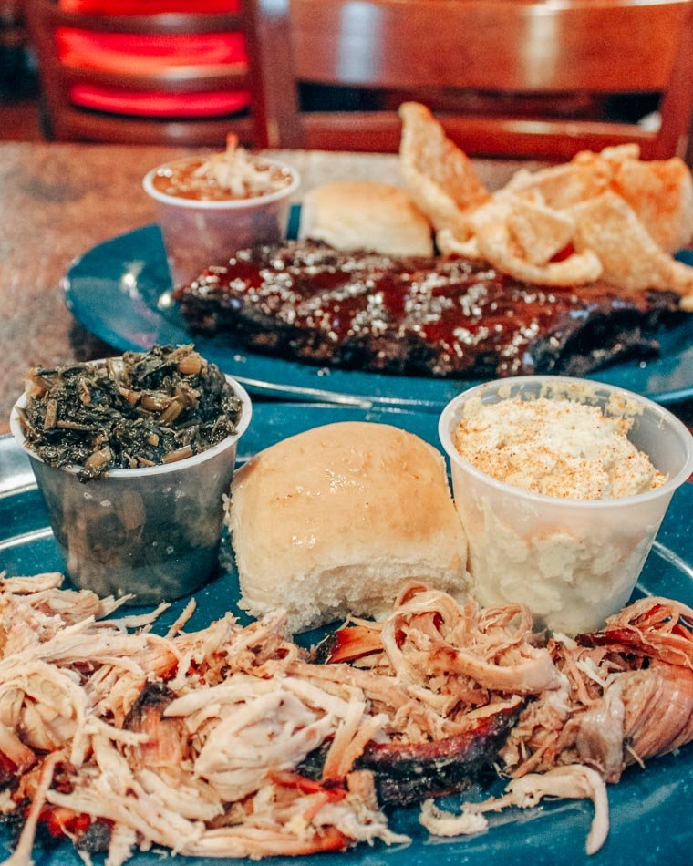 Plates of brisket and ribs at Central BBQ in Memphis, Tennessee