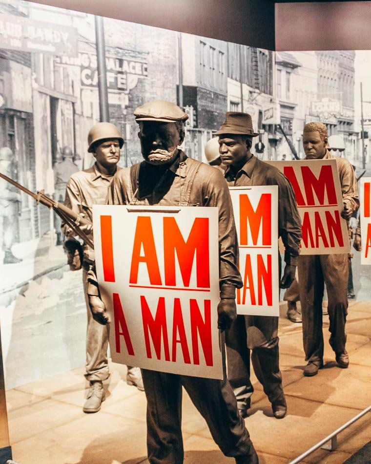 """""""I Am a Man"""" Mural at the Civil Rights Museum in Memphis, Tennessee."""