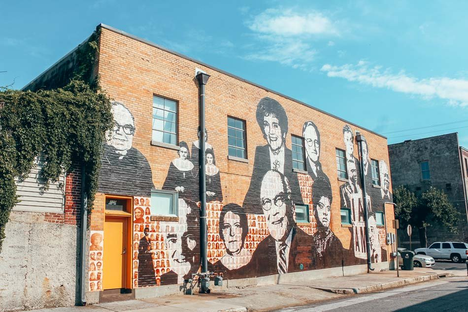 Mural outside on the Civil Rights Museum in Memphis, Tennessee.