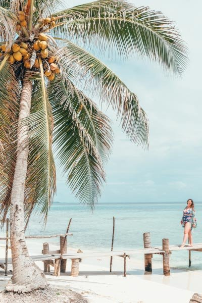 Palm tree swaying in the breeze on a white sandy beach in front of a bright blue sea, with a curvy girl in a swimsuit standing on the dock.
