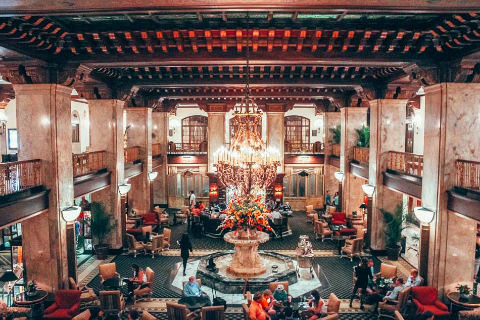 The Peabody Hotel Lobby in Memphis, Tennessee, home of the Peabody Ducks.