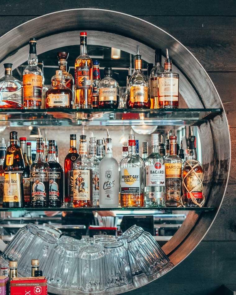 Circular alcohol display at the bar in Railgarten, Memphis, TN.