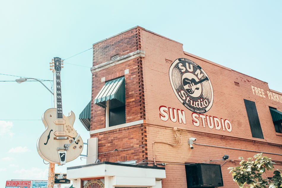 The exterior of Sun Studios in Memphis, Tennessee, where Elvis Presley got his start.
