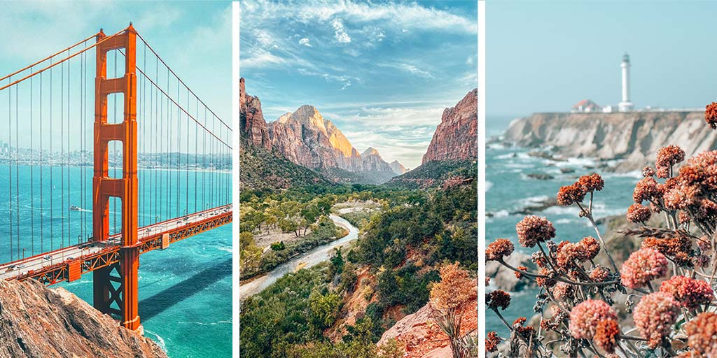 Triptych featuring three USA travel destinations: the Golden Gate Bridge in San Francisco, Zion National Park in Utah, and a lighthouse on a coastal cliff with pink flowers in the foreground on Highway One, California.