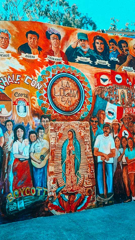 The Chicano Park street art dedicated to the Latinx community in San Diego, CA.
