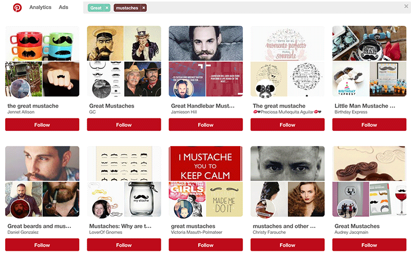 Screenshot of Pinterest boards about mustaches.