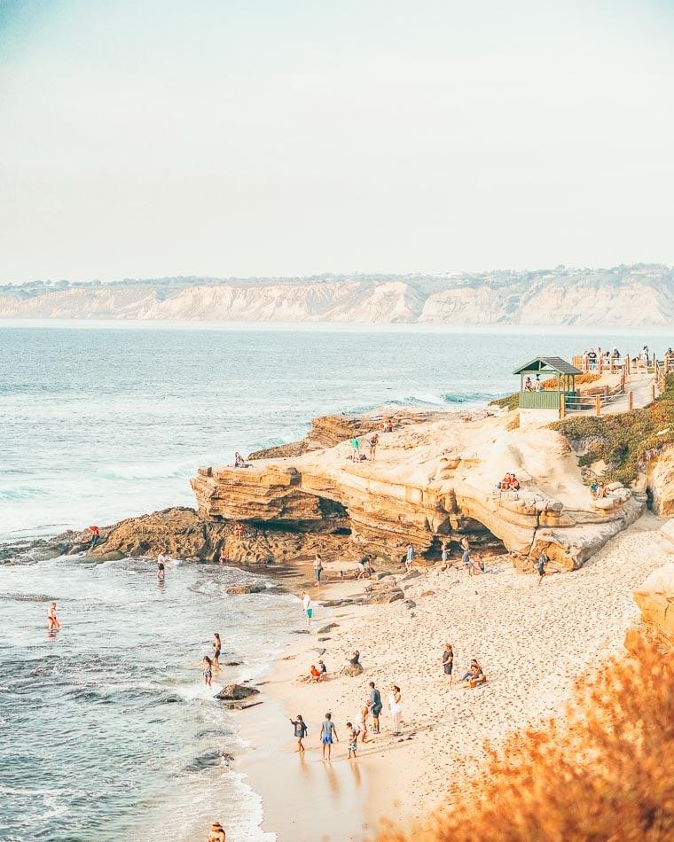 Beach, ocean, and sea caves at La Jolla Cove in San Diego, California