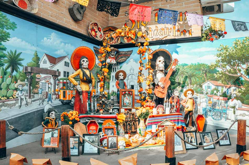 Display of historical and cultural artifacts from San Diego's Mexican history