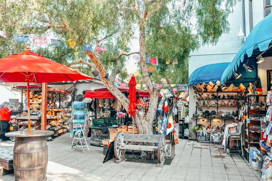 Shops in a market in Old Town San Diego, California.