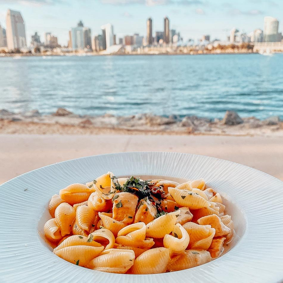 Pasta and a good view of the city in San Diego.