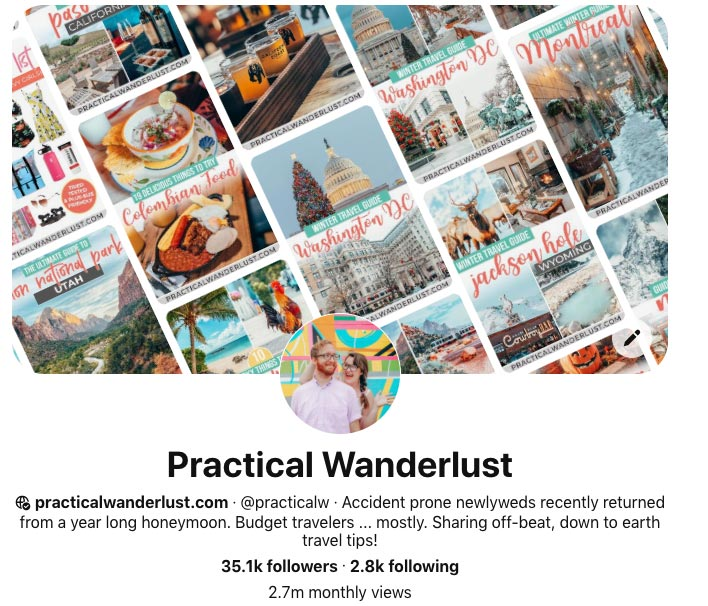Screenshot of Practical Wanderlust's Pinterest account.