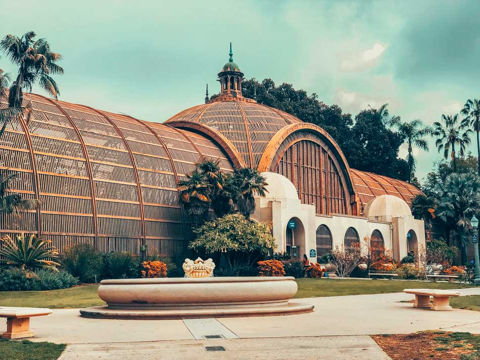 Outside of The Botanical Building at Balboa Park in San Diego, CA.